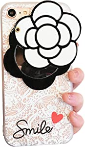iPhone 8 Plus/7 Plus Soft Case with Elegance Camellia Flower Rotating Mirror IPLUS Clear Lace Protective TPU Flexible Case Cover for Apple iPhone 8 Plus/7 Plus(iPhone 8 Plus/7 Plus, White Camellia)