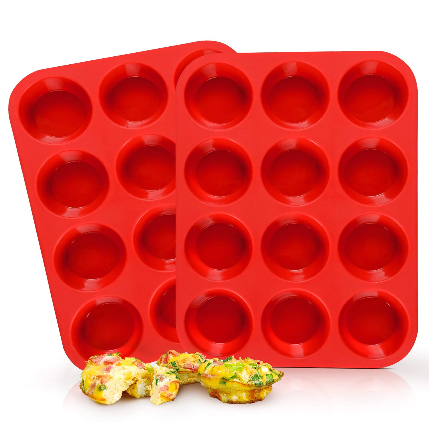 SJ Silicone Muffin Pan Set - Regular 12 Cups Muffin Molds, Non-stick BPA Free Best Food Grade Silicone Molds, Pack of 2 JSC2415