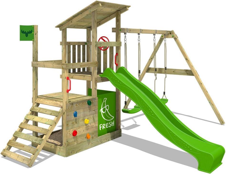 FATMOOSE Parque infantil de madera FruityForest con columpio y tobogán, Torre de escalada de exterior con arenero y escalera para niños: Amazon.es: Bricolaje y herramientas