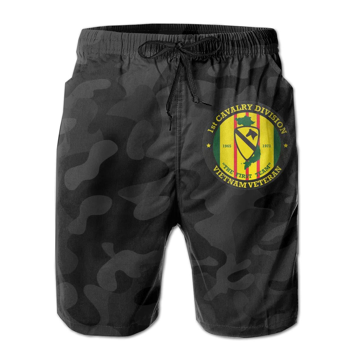 Hdecrr FFRE 1st Cavalry Division Vietnam Veteran Men Summer Casual Beach Shorts Quick Dry Swim Trunks with Pockets