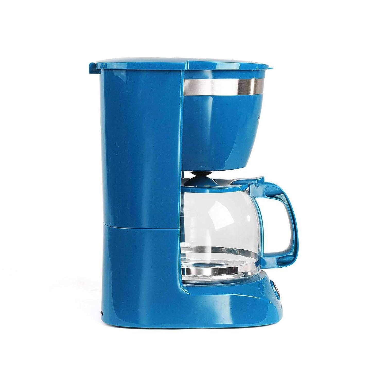 cafetera, cucharilla de caf/é, apagado autom/ático, indicador de nivel de agua Cafetera azul con jarra de cristal para 12 tazas funci/ón de mantenimiento en caliente