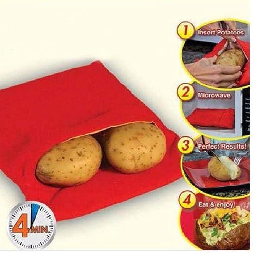 PiniceCore Rojo Lavable Olla Bolsa de Patatas al Horno de cocción ...