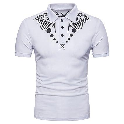 YYD  Camiseta con Estampado Geométrico Estampado De Hombre Camiseta Manga  Corta Polo Top Blanco Negro aff4dc958ed