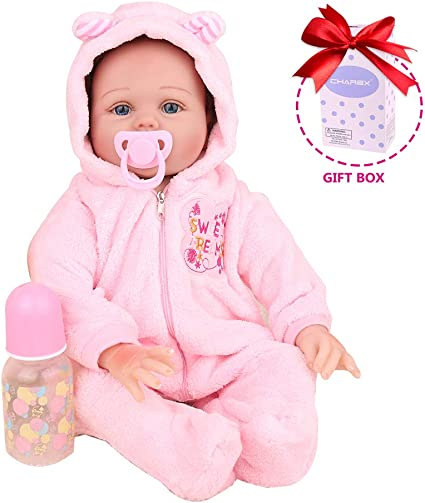 Reborn Realistic Silicone Vinyl Baby Doll in Pink Jumpsuit Kids Xmas Gift