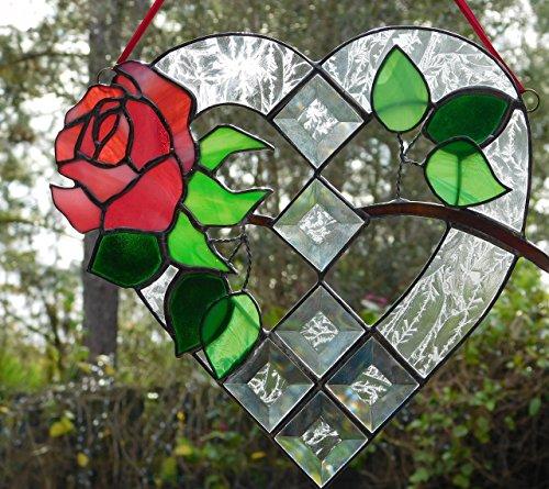 Valentine Rose Window Suncatcher, Heart Shaped, Large, Unique & Beautiful! 10