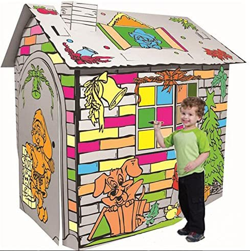 Littlefun Kids Foldable Premium Corrugated Cardboard Playhouse Child Outdoor Indoor DIY Painting Imagination Toy Play House Cartoon Cottage