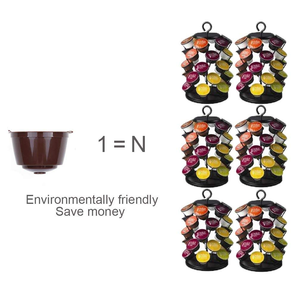 Ruosaren C/ápsula de caf/é reutilizable 6 unidades c/ápsulas de caf/é con 2 cucharas de pl/ástico y 2 cepillos de limpieza c/ápsulas recargables compatibles con filtros de c/ápsulas sin BPA
