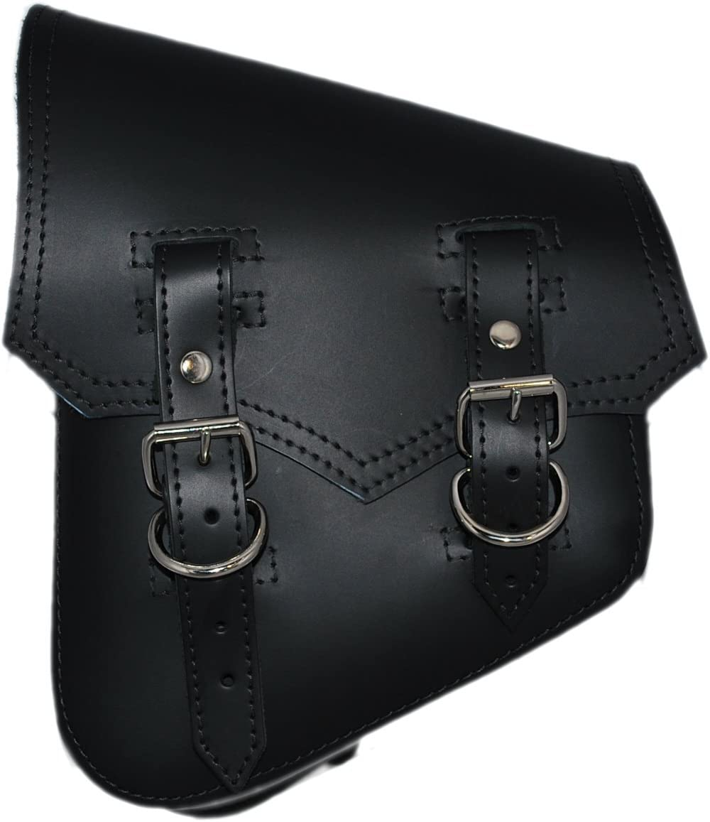 La Rosa Harley-Davidson Softail /& Rigid Vintage Style Black Leather Left Swing Arm Saddlebag