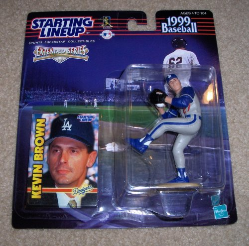 - 1999 - Hasbro - Starting Lineup - MLB - Extended Series - Kevin Brown #27 - Los Angeles Dodgers - Vintage Action Figure - w/ Trading Card - Limited Edition - Collectible