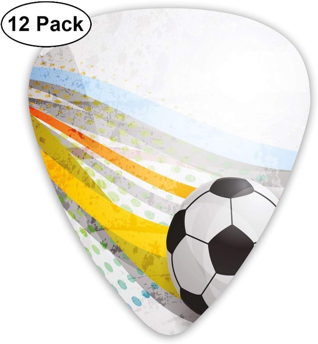 Púas de guitarra Fondo de fútbol con juego de deportes de líneas coloridas de fútbol con pantalla digital, para guitarras acústicas eléctricas bajas-paquete de 12