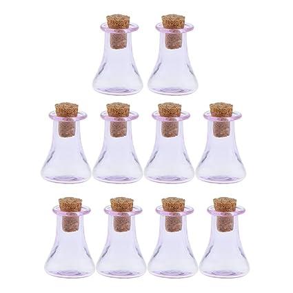 Baosity 10 Pedazos Mini Botella de Vidrio para Manualidad Artesanal - Púrpura