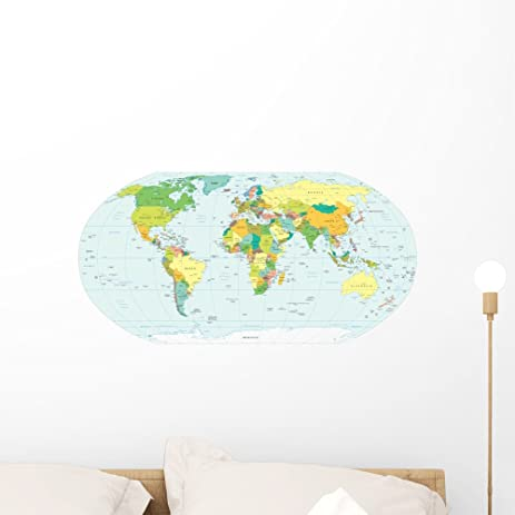Amazon world map political boundaries wall decal by wallmonkeys world map political boundaries wall decal by wallmonkeys peel and stick graphic 24 in w gumiabroncs Image collections