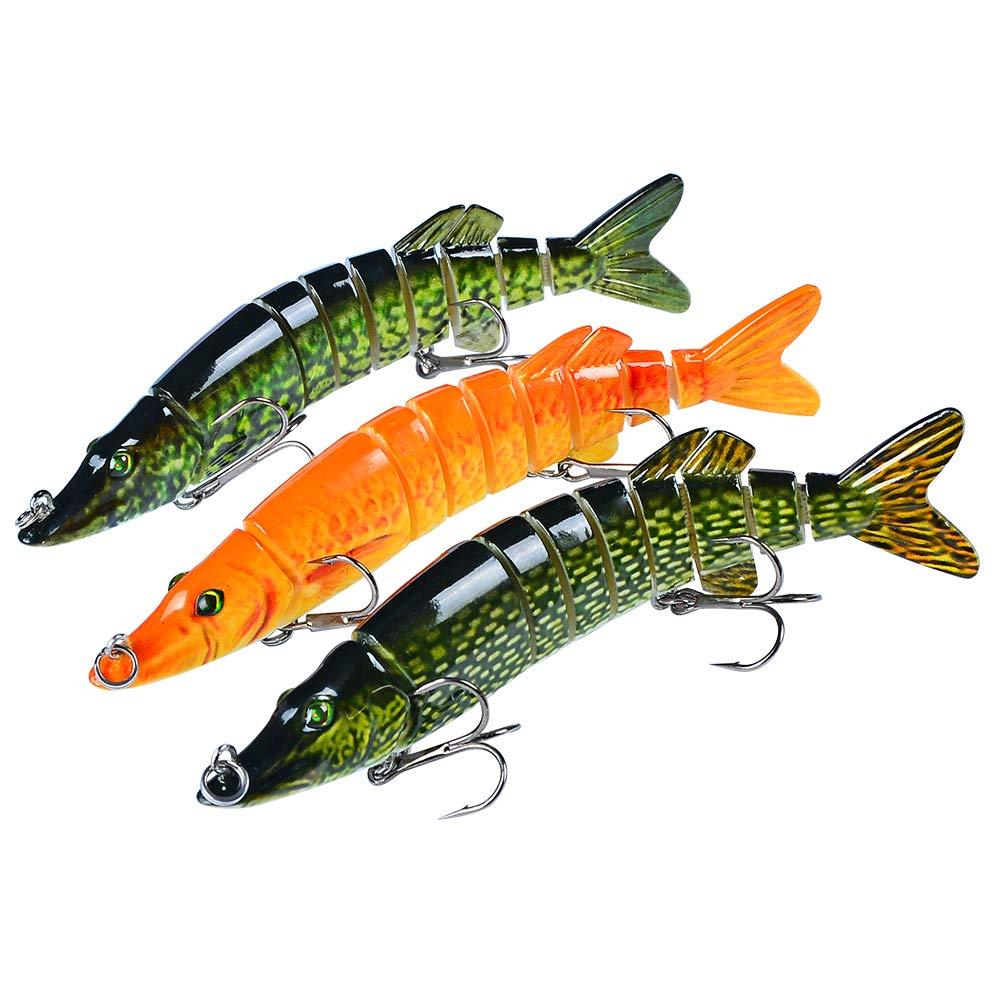 Sunlure Fishing Lures Bass Swimbait Lure Crankbaits Artificial Bait Multi Jointed Lifelike Muskie Shape Hard Baits Fish Tackle Kits 3 pcs/Set