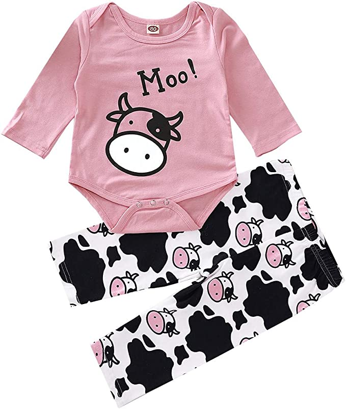 Pants Outfits Finedayqi Girls Long Sleeve Outfits Newborn Infant Baby Lovely Cartoon Cow Print Romper