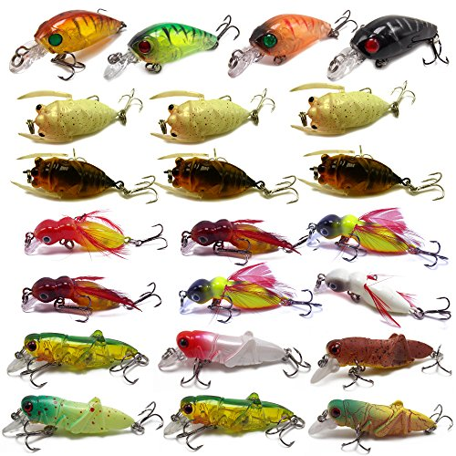 Cheap CATCHSIF 23pcs Hard Insects minnow baits fishing lures kit cicada Locust Feather Cricket Crank