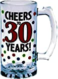 """The Party Continuous 30th Birthday Party """"Cheers to 30 Years"""" Tankard , Red with Multi Colored Dots , 15 Ounces, Glass"""