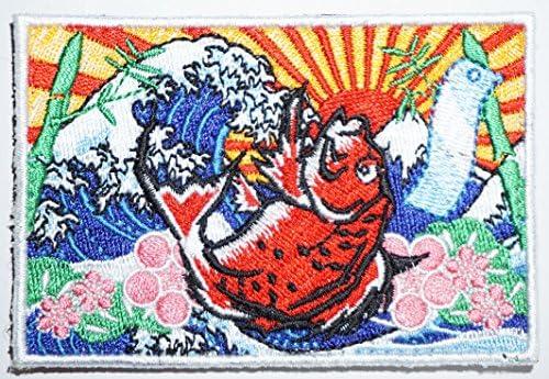 [ ワッペン屋Dongri ] ベルクロワッペン パッチ タイ 大漁旗 葛飾北斎 富嶽三十六景 旭日 旗 A0224