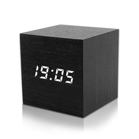 Reloj Digital Despertador, Reloj Despertador Electrónico de Madera con 3 niveles Brillo ajustable - USB