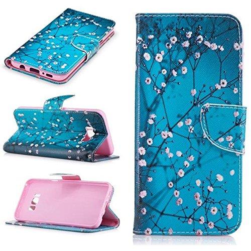 Caja de la carpeta del cuero del teléfono mariposas Flores para Samsung Galaxy S8 Plus c