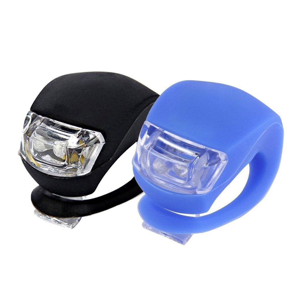 Ndier lumière de vélo, Super Lumineux Coque en silicone LED Lampe de vélo de vélo Phare avant et arrière (2pcs)