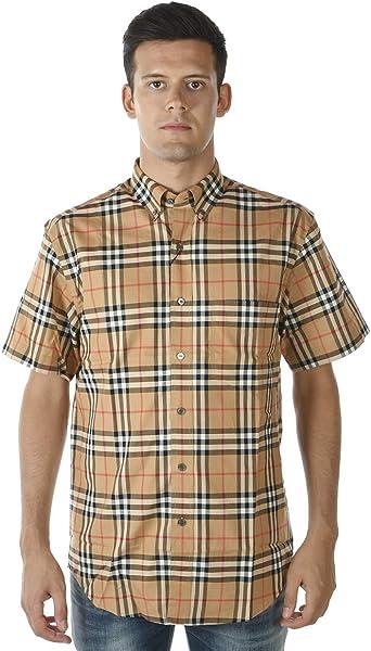 BURBERRY - Camisa Hombre 8002927 Beige Jameson MC M: Amazon.es: Ropa y accesorios