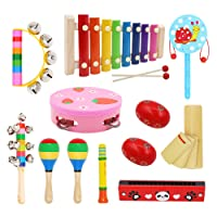 Tresbro Musical Instrument Set Toddler Wooden Percussion Instruments Toy for Kids Preschool Educational, Musical Toys Set for Boys and Girls with Storage Bag
