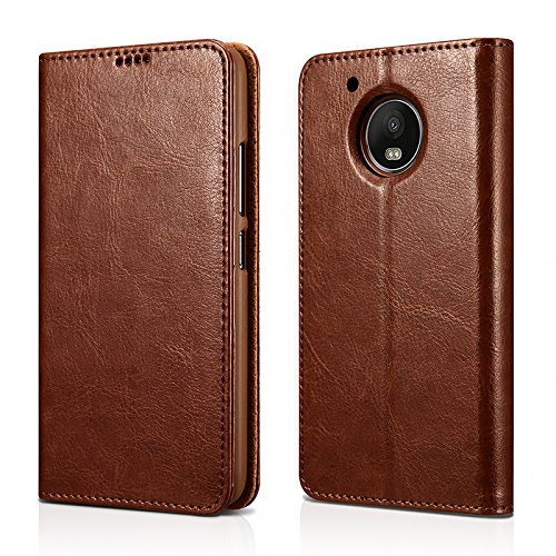 reputable site e9c3c e455b MOTO G5 Plus Case,Mangix Genuine Leather Wallet Card Slots Series Secure  Magnetic Closure Stand Feature Luxury Flip Case for Motorola G5 Plus (Brown)