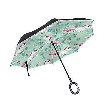 TIZORAX Unicornio de Dibujos Animados Verde Flor invertido Doble Capa Recto Paraguas Interior Exterior Reversible con