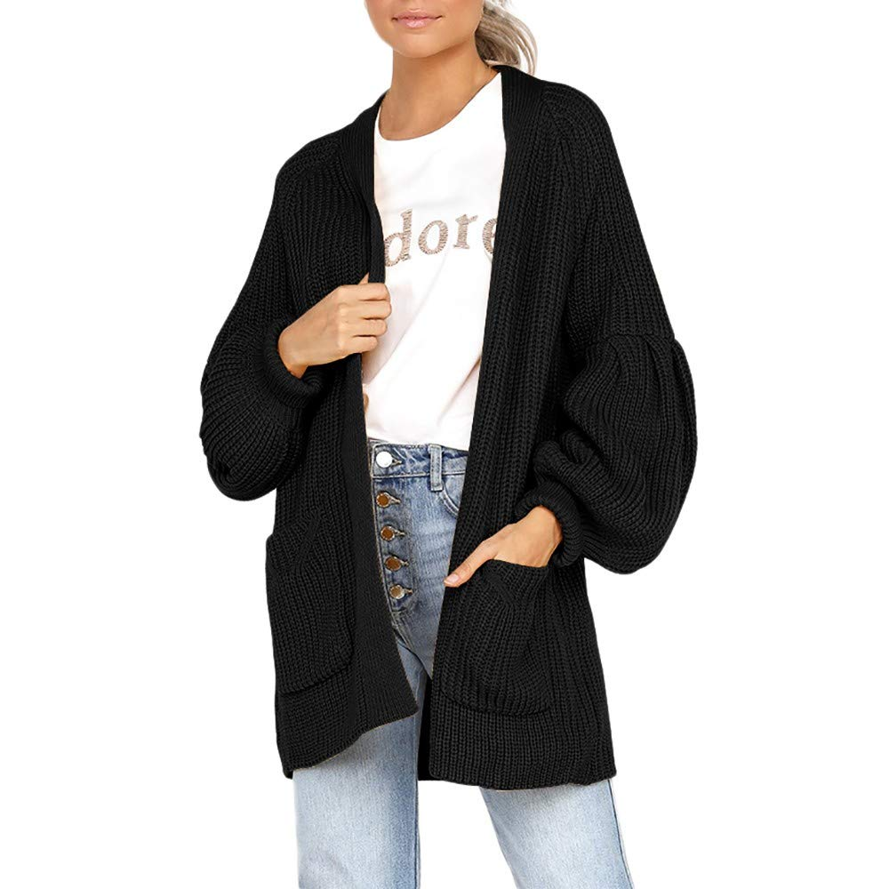 ZYooh Womens Plus Size Sweater Coat Casual Solid Long ...