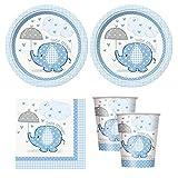 blue Umbrellaphants boy baby shower babyshower Party Supplies - Plates, Napkins, & cups