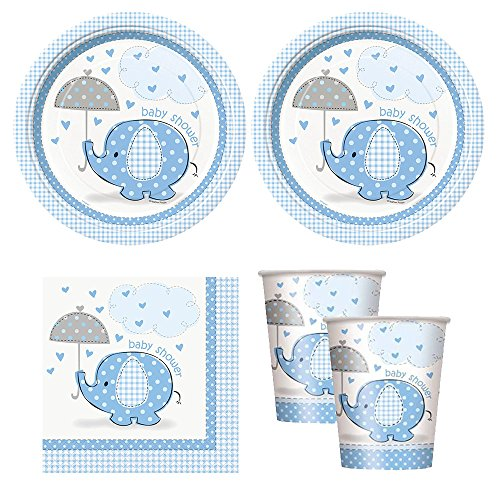 blue Umbrellaphants boy baby shower babyshower Party Supplies - Plates, Napkins, & cups]()