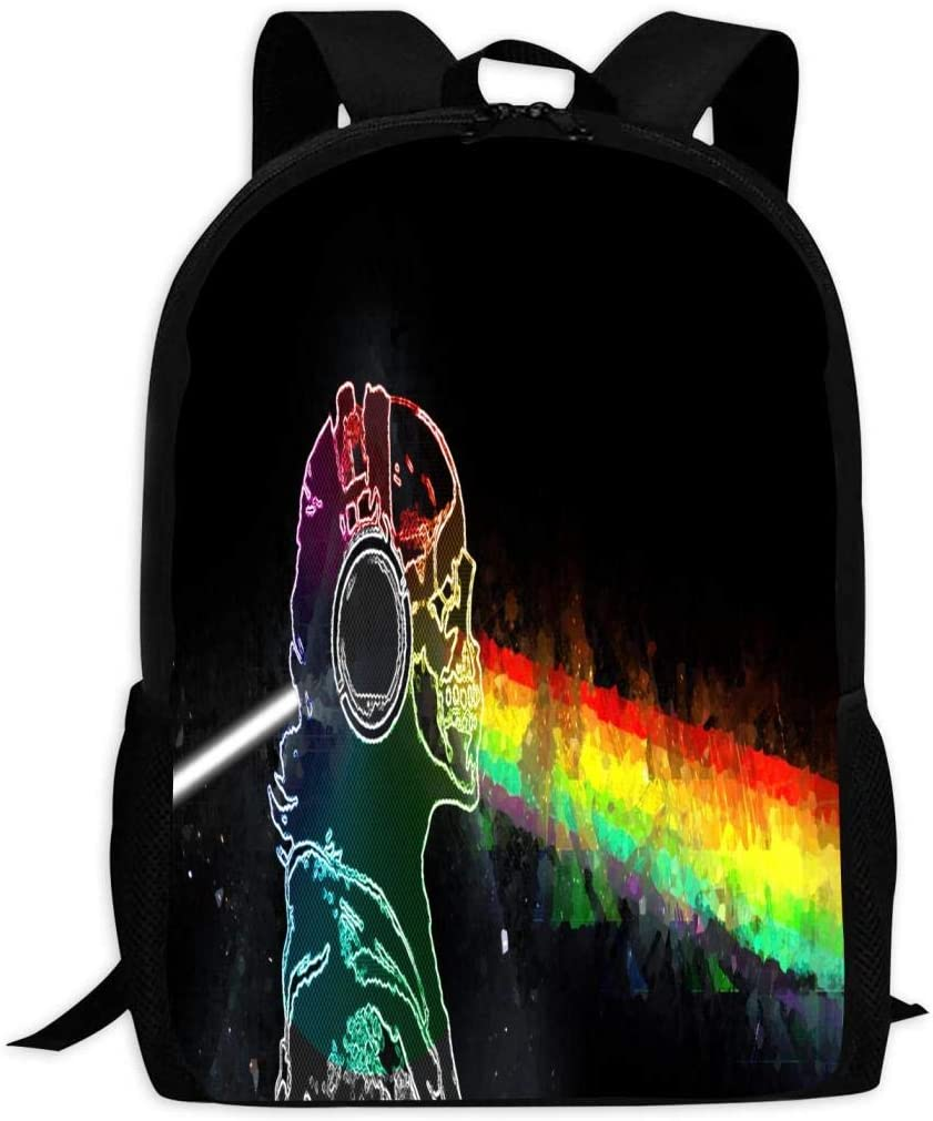 Skull with Headphones Oversized Knapsack Casual Waterproof Adjustable Shoulder Strap Schoolbag for Teenagers and Adults
