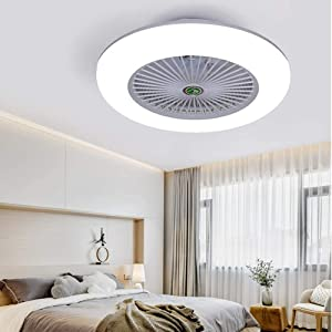 KWOKING Lighting Modern Ceiling Light and Fan with Remote Control 22 inch Invisible Acrylic Dimmable Lighting Fan Adjustable Speed for kids Bedrooms Workout Room in Grey