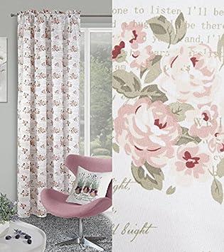 Dekorativ Vorhang Kräuselband 140x250 Cm FIORE Weiß + Rosa Wohnzimmer  Blumen Muster Blickdicht