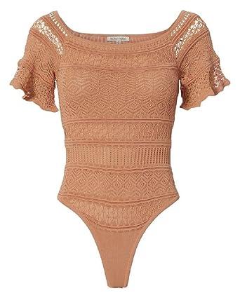 10c53061704 Ronny Kobo Women's Haya Nude Floral Pointelle Bodysuit Top XS/P at Amazon  Women's Clothing store:
