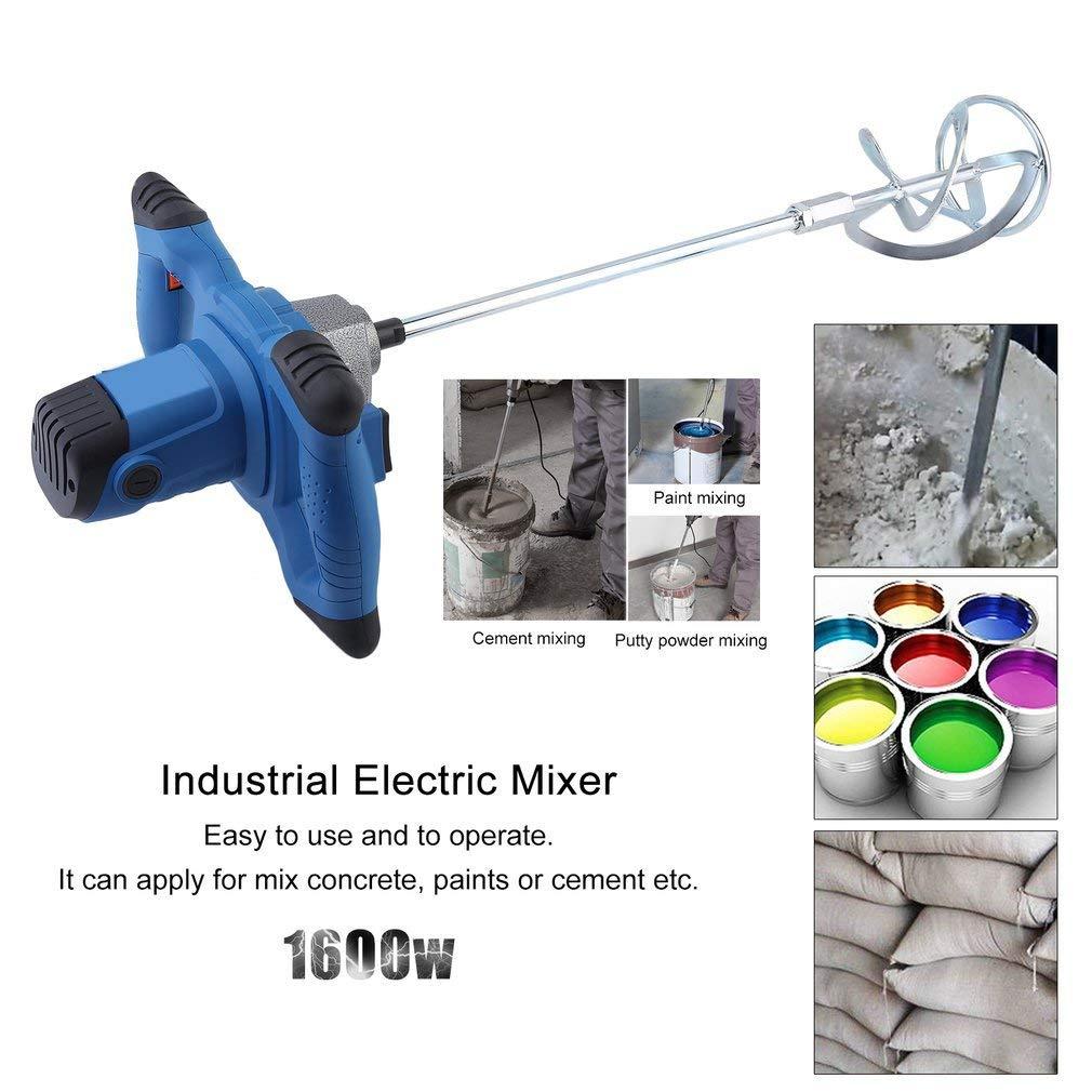 con miscelatore per malta 930 r//min Blu 50//60 Hz 1900 W miscelatore per cemento miscelatore manuale Hehilark Miscelatore per malta