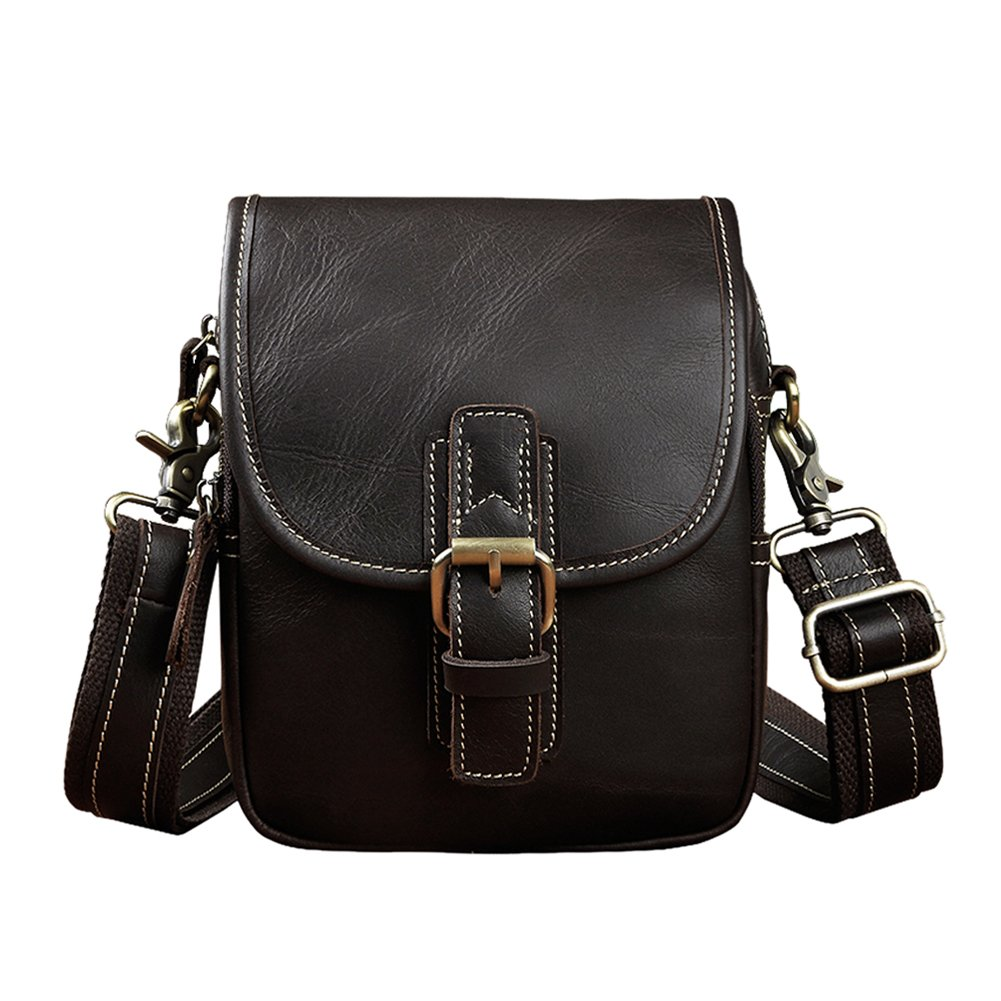 Genda 2Archer Mens Genuine Leather Small Flapover Shoulder Waist Bag (Black Coffee) by Genda 2Archer