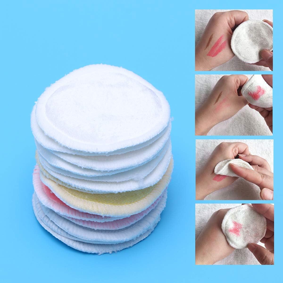 Frcolor 12 Unids Surtido Almohadillas Removedoras de Maquillaje de Bamb/ú Tres Capas Reutilizable Suave Limpieza Facial y Cuidado de la Piel Lavar Almohadillas Redondas de Algod/ón