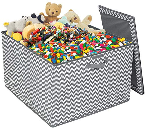 Sorbus Square Toy Chest with Flip-Top Lid, Kids Collapsible Storage for Nursery, Playroom, Closet, Home Organization, Large (Gray/White Chevron)