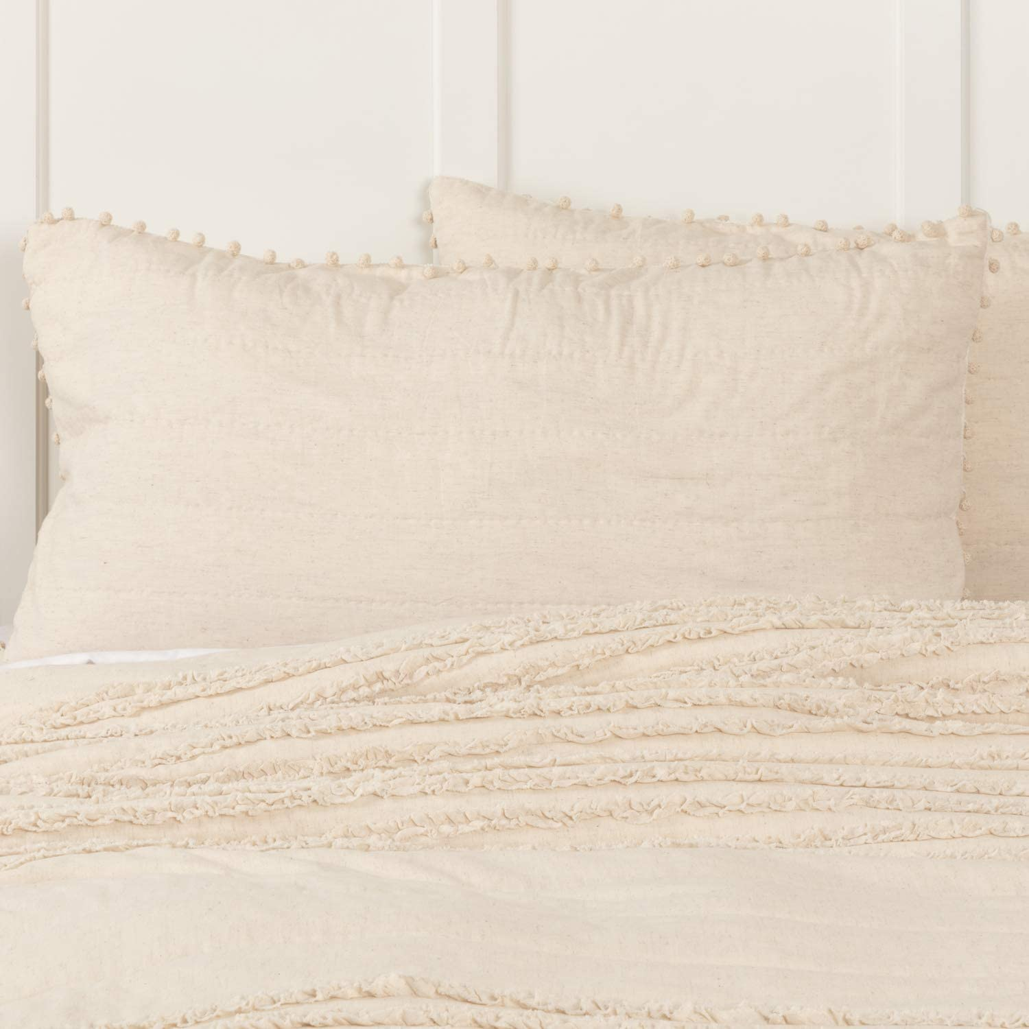 """Piper Classics Olivia King Sham Bed Pillow Cover w/Macrame Pompoms, 21"""" x 37"""", Quilted, Natural Cream Linen/Cotton. Vintage, Cottage, Boho, Farmhouse Bedding"""
