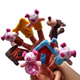 TigerTrading Animal Finger Puppet Plush Dolls Child Baby Early Education Toys Gift STorytelling, Good Toys(The story of Pigs) (E-8PCS)