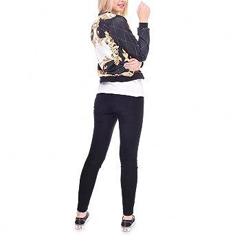 Amazon.com: Fashion Women Bomber Jacket Printing Baroque style Chaquetas Mujer Fashion Slim Outwear ackets Basic Coats jka36059 One Size: Clothing