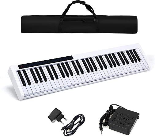 COSTWAY Teclado Piano Digital 61 Teclas Portátil con 128 Ritmos MIDI Bluetooth,USB Bolsa de Transporte Regalo para Niños y Principiantes Blanco