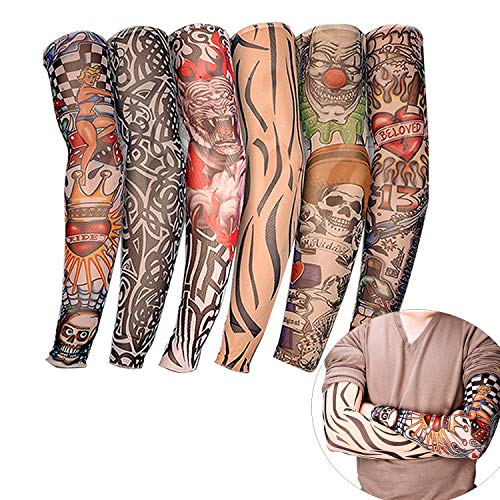 StyleZ 6Pcs Tattoo Arm Sleeve UV Protection Fake Tattoo Arm Stockings Sunscreen Flower Arm Sleeve for Men and Women Ourdoor Sport Cycling