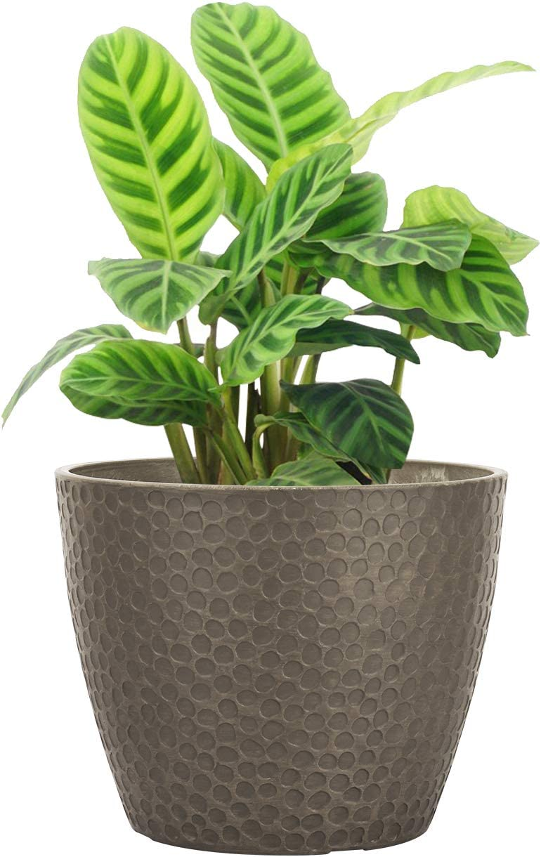 LA JOLIE MUSE 9.4 inch Plant Pot for Indoor and Outdoor Plants, Modern Chic Planter with Honeycomb Pattern, Taupe