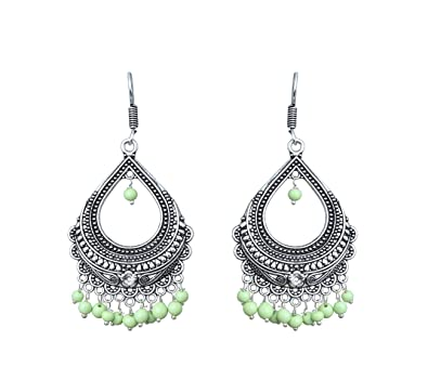 4b141400f Image Unavailable. Image not available for. Color: Waama Jewels Women's  Dangle & Drop Earrings Light Green Color Beads Oxidized ...