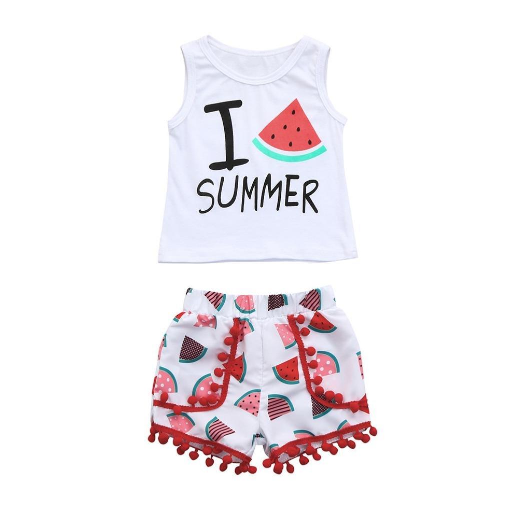 Tassel Shorts Outfits Set kaiCran Summer Toddler Baby Girls Cute Watermelon Print Tops Vest