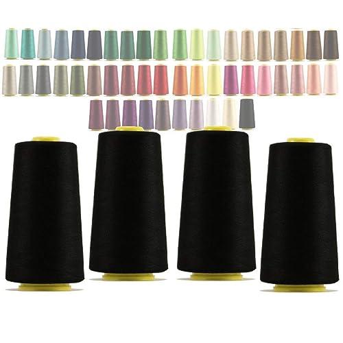 (325 black) - 4 x Cones overlocking thread 40S/2, 3000 Yards (325 black)