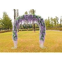 12pcs 3.4ft Artificial Silk Wisteria Fake Garden Hanging Flowers Vines Wedding (purple)