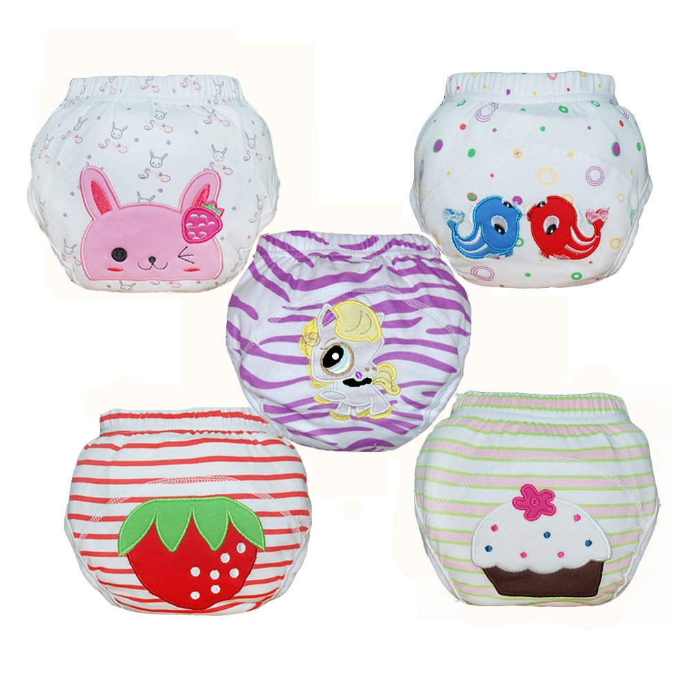Babyfriend Baby Girls' Washable 5 Pack Training Pants Kids Potty Cloth Diaper Nappy Underwear TP5-001